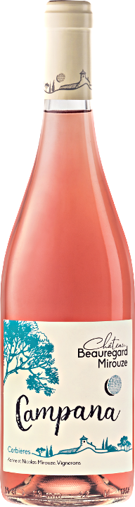 mpana rosé , an elegant Corbieres : organic Languedoc wine produces in the South of France on the Massif of Fontfroide at Bizanet near Narbonne